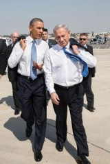 President Barack Obama talks with Israeli Prime Minister Benjamin Netanyahu as they walk across the tarmac at Ben Gurion International Airport in Tel Aviv, Israel, March 20, 2013. (Official White House Photo by Pete Souza)