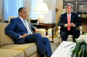 U.S. Secretary of State John Kerry meets with Russian Foreign Minister Sergey Lavrov to discuss issues related to Syria in Paris.