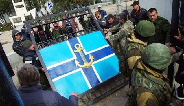 Pro-Russia militias seize Crimea navy headquarters