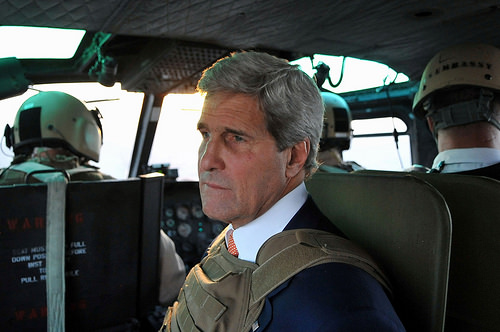 Secretary Kerry looks out over Baghdad as he left Iraq earlier this week.