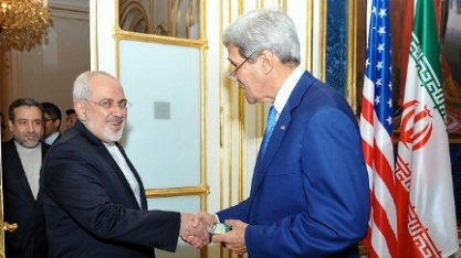 Secretary Kerry shakes hands with Iranian Foreign Minister Mohammad Javad Zarif as he arrives in Vienna for nuclear talks.