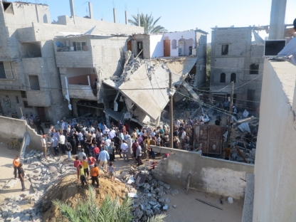The destroyed home of a family in Gaza.