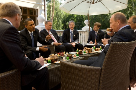 Presidents Obama and Putin meet at Putin's dacha in 2009. Despite Putin's recent aggressiveness, we need to maintain communication.