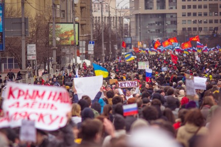 "A ""Peace March"" in Moscow earlier this year over the issue of Crimean annexation."