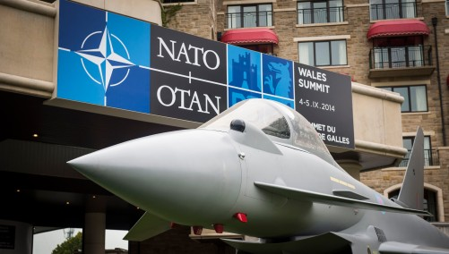 RAF Typhoon aircraft in front of the Celtic Manor, venue of the NATO Summit in Wales. Source: Nato