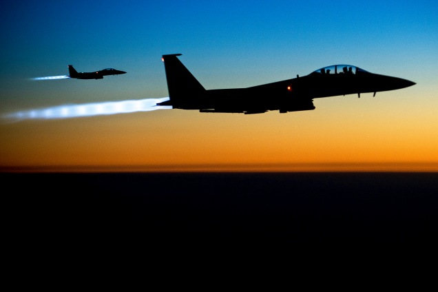 F-15E Strike Eagles flying over Iraq after bombing ISIS targets in Syria.