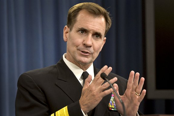 Pentagon Press Secretary Navy Rear Adm. John Kirby briefs reporters on the latest developments in the fight against ISIS, Oct. 21, 2014 (Photo: Department of Defense)