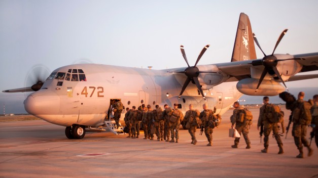 U.S. military personnel boarding KC-130J Super Hercules in order to deploy to West Africa (Photo: Department of Defense)