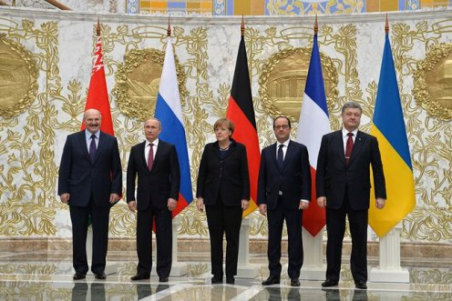 Leaders of Belarus, Russia, Germany, France, and Ukraine at the  summit in Minsk on February 11th and 12th.