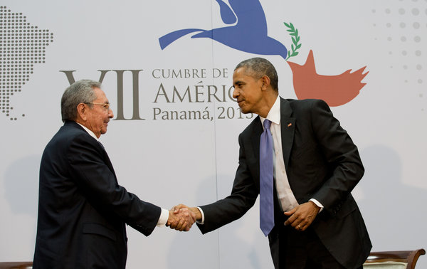 President Obama and President Raúl Castro of Cuba shake hands at the Summit of the Americas on April 11, 2015.