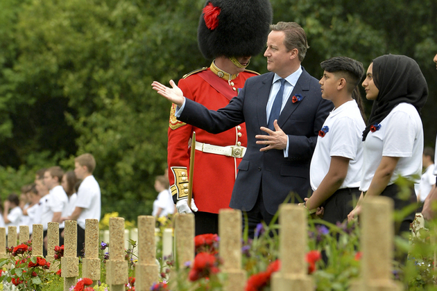 David Cameron tours the Somme Exhibition in Thiepval, France and meets a group of British School Children.